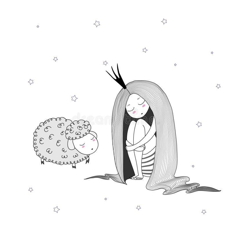 Nattprinsessafår royaltyfri illustrationer