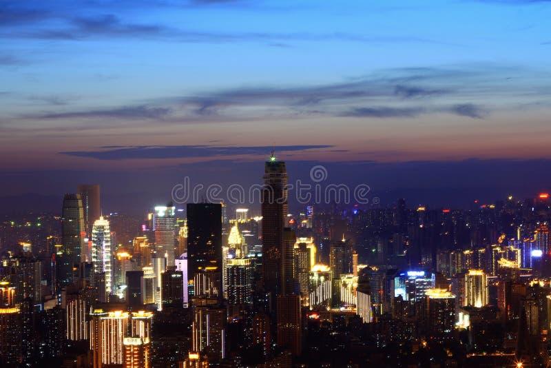 Nattsikt av Chongqing arkivfoto