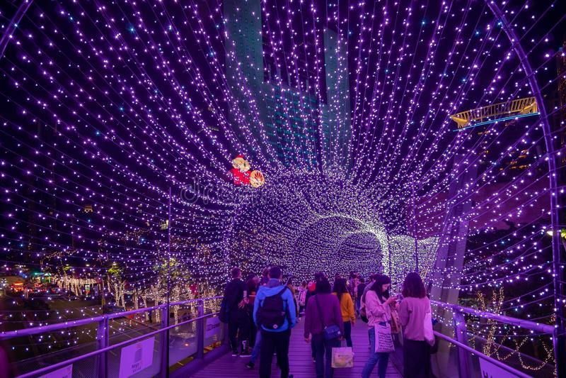 Nattsikt av den purpurf?rgade ljusa tunneljulgarneringen framme av stadshuset royaltyfri fotografi