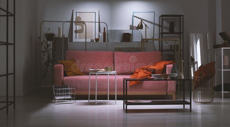 Nattsikt av den rosa soffan för pulver med den orange kudden och filten i mitt av konstsamlares lägenhet mycket av metallhyllor royaltyfria bilder