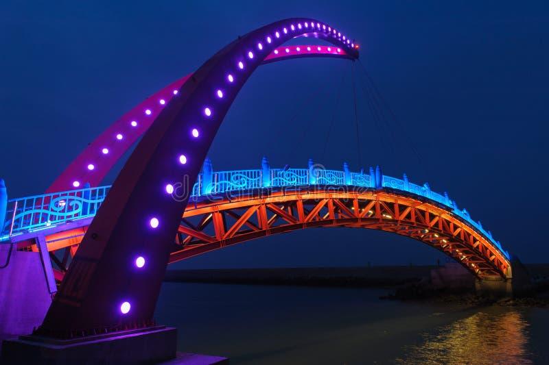 Nattsikt av en upphängningbro fotografering för bildbyråer