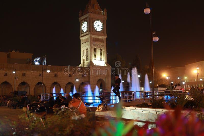 Nattsikt av Erbil, Irak royaltyfri fotografi