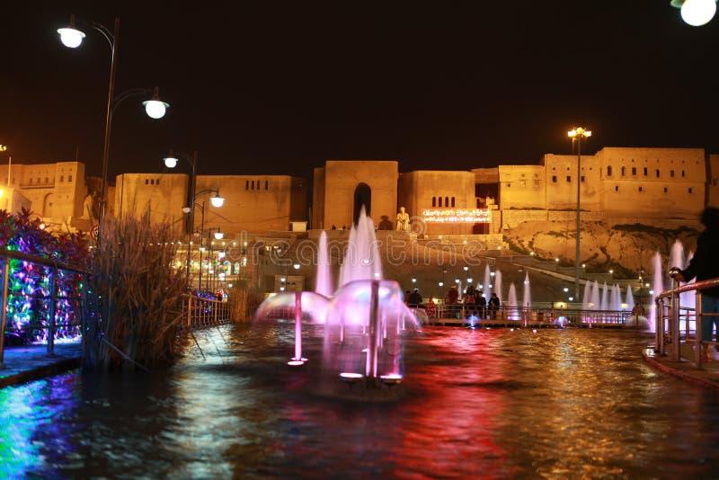 Nattsikt av Erbil, Irak royaltyfria foton