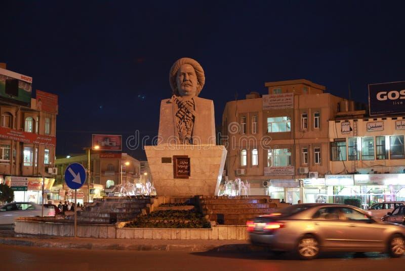 Nattsikt av Erbil, Irak royaltyfri foto