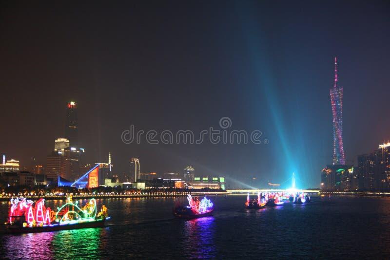 Nattsikt av Guangzhou Kina royaltyfri fotografi