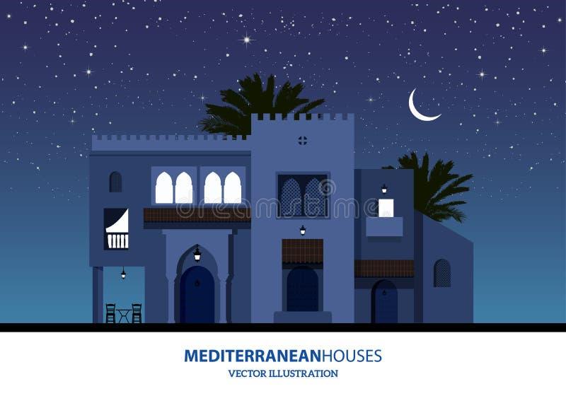 Nattsikt av medelhavs-, arabiskan eller moroccan stilhus stock illustrationer