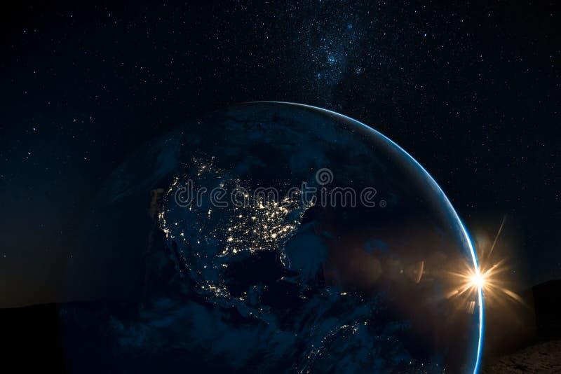 Nattsikt av Nordamerika från satelliten stock illustrationer