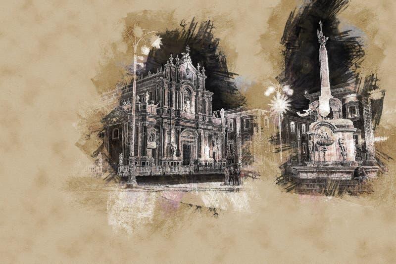 Nattsikt av piazza del Duomo i Catania, Sicilien, Italien royaltyfria foton