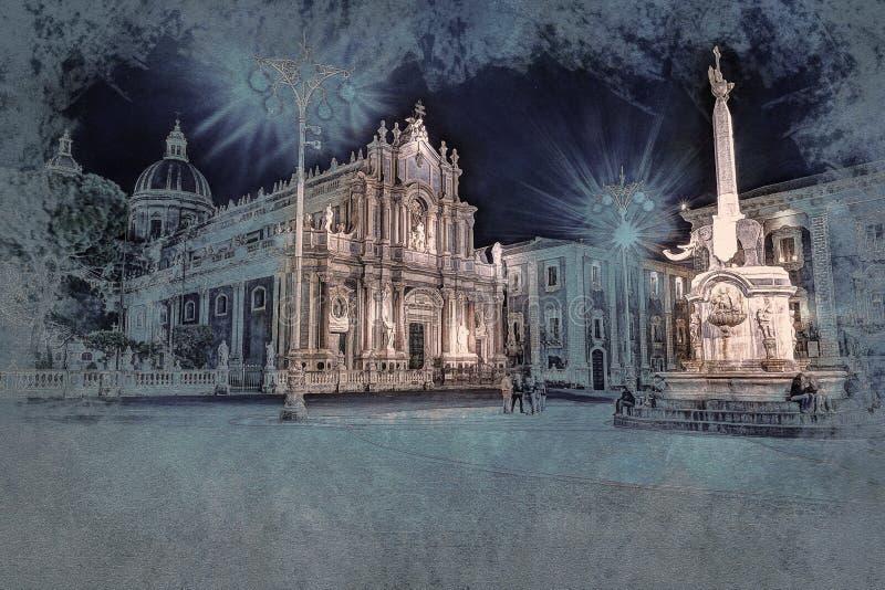 Nattsikt av piazza del Duomo i Catania, Sicilien, Italien royaltyfri illustrationer