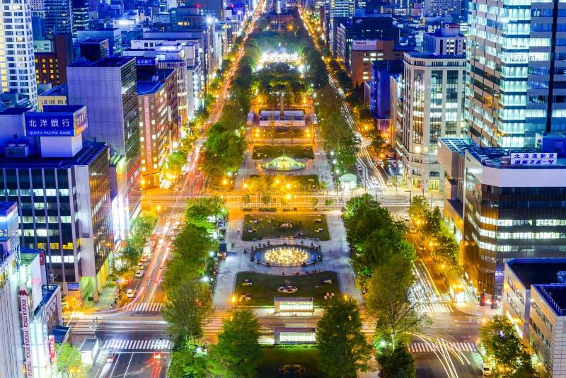 Nattsikt av Sapporo cityscape arkivfoto