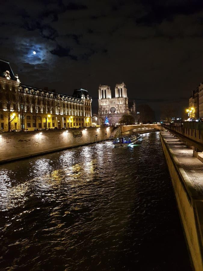 nattsikt av Seinet River med Notren Dame Cathedral i bakgrunden fotografering för bildbyråer