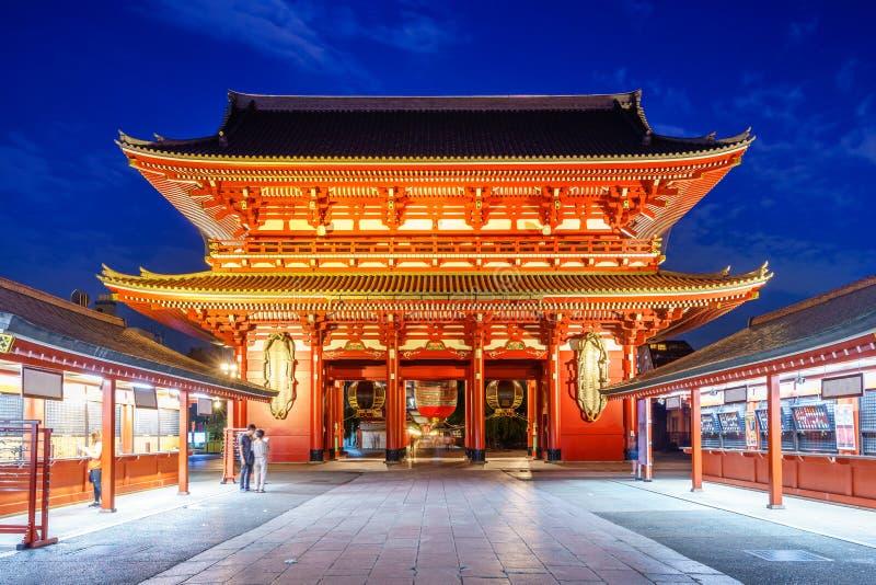 nattsikt av sensojien i den tokyo staden royaltyfri fotografi