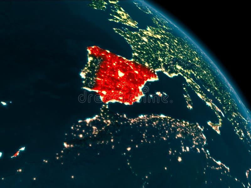 Nattsikt av Spanien på jord vektor illustrationer