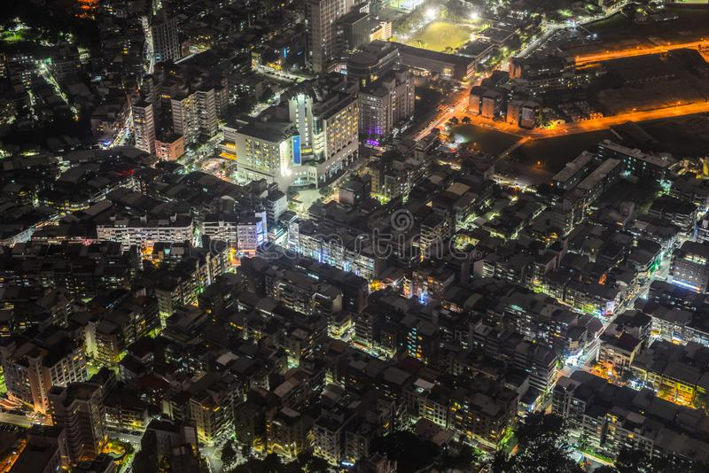 Nattsikt av Taipei stadsdisctrict royaltyfria foton