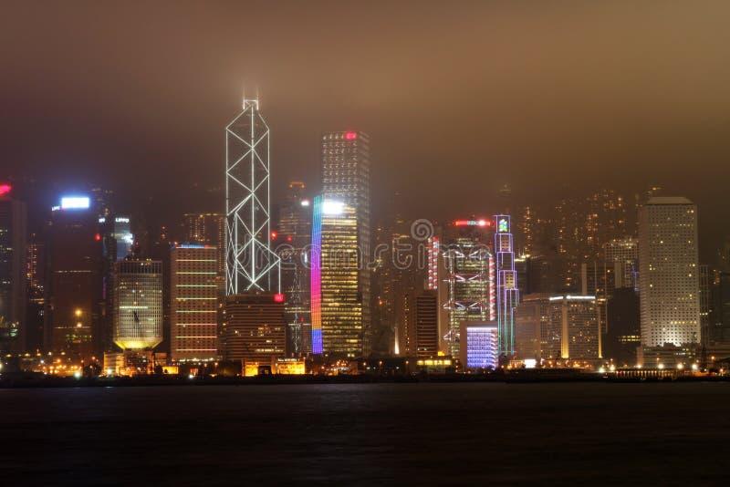 nattsikt för hk Hong Kong fotografering för bildbyråer