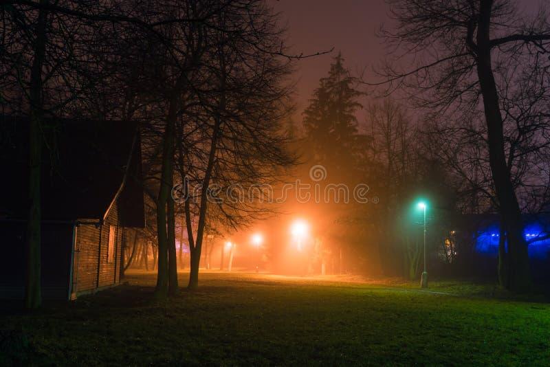 Nattsikten av den mörka gatan parkerar in av liten stad royaltyfri bild