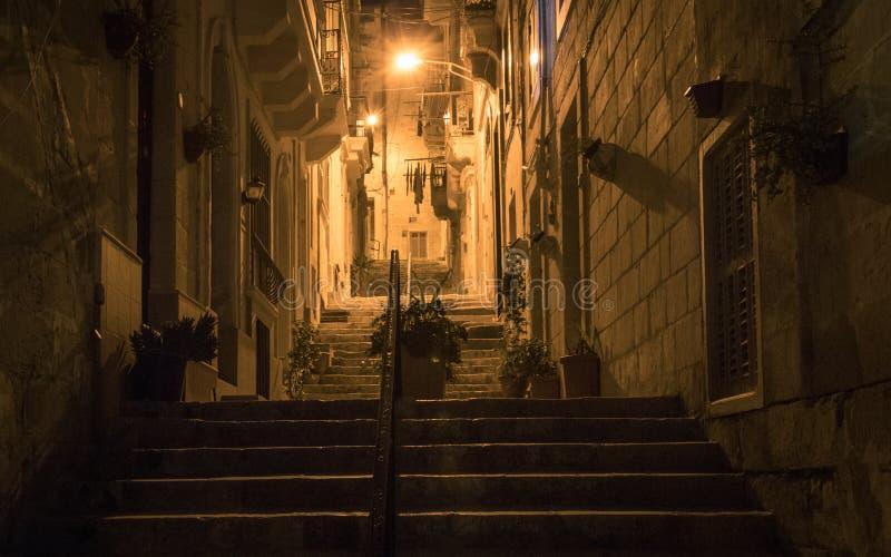 Nattsikten på en bakgata går uppför trappan, ljus och ledstången som täckas av gamla husfasader Några blommor i krukan Hänga för  royaltyfri foto