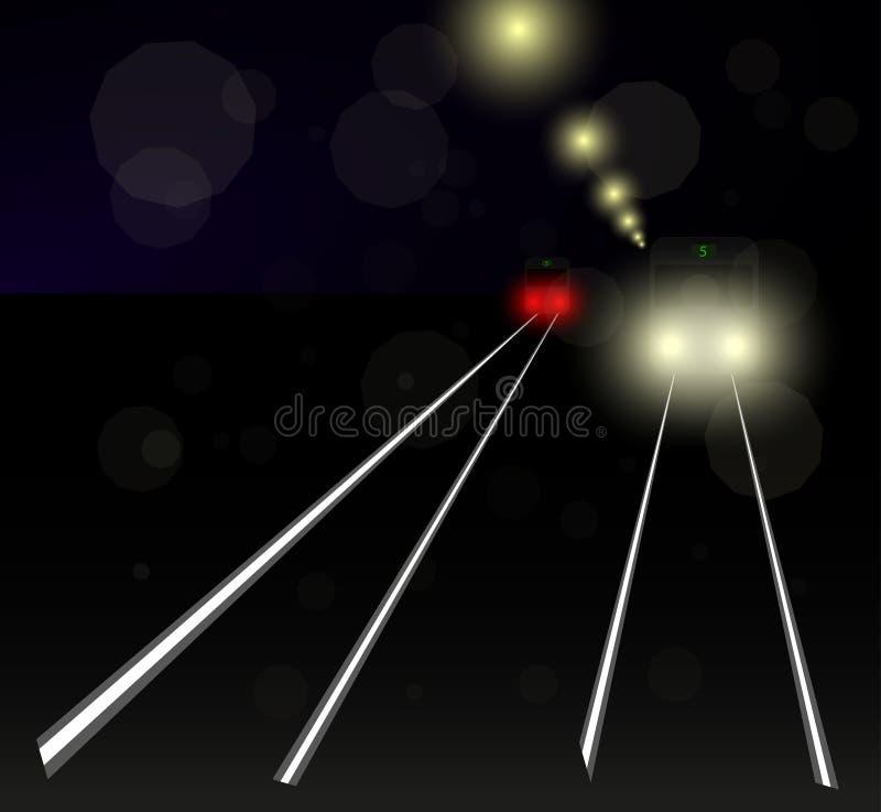Nattspårvagn i det insnöat ljuset av en lykta stock illustrationer