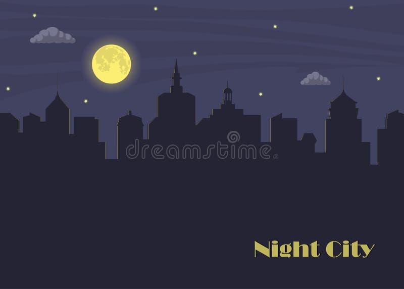 Nattstad och måne Mörk stads- scape i månsken Nattcityscape i plan stil med stället för text, abstrakt bakgrund vektor royaltyfri illustrationer
