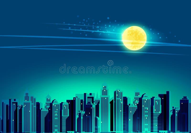 Nattstad, skyskrapor också vektor för coreldrawillustration royaltyfri illustrationer