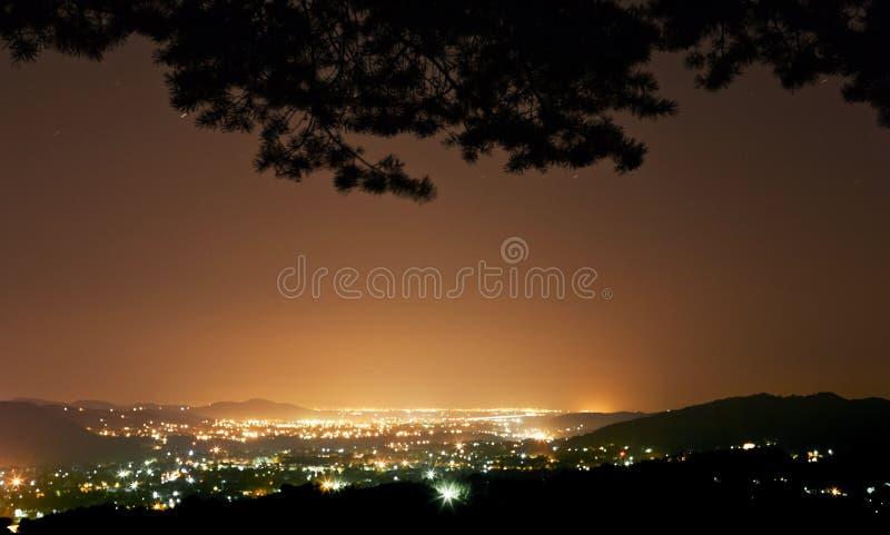 Nattstad som ses från skog royaltyfri bild