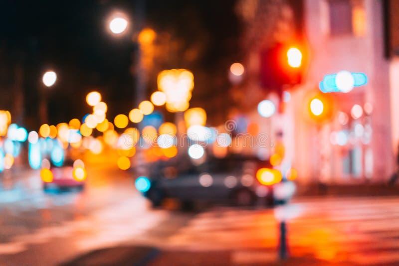 Nattstaden är ut ur fokus arkivbilder