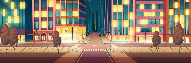Nattstaden exponerade gatan, tom vägvektor stock illustrationer