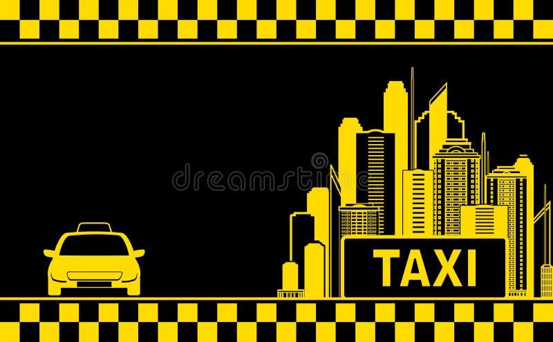 Nattstadsbakgrund för taxar affärskortet stock illustrationer