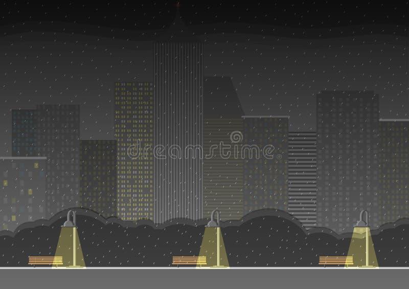 Nattstadskort Natten parkerar regnigt väder vektor vektor illustrationer