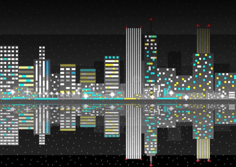 Nattstadskort regnigt väder vektor vektor illustrationer