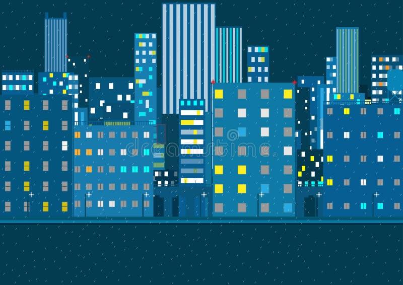 Nattstadskort regnigt väder vektor stock illustrationer