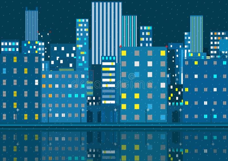 Nattstadskort regnigt väder vektor royaltyfri illustrationer