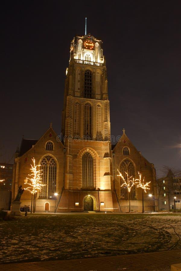 Nattstadssikt av Rotterdam, Netherland arkivbilder