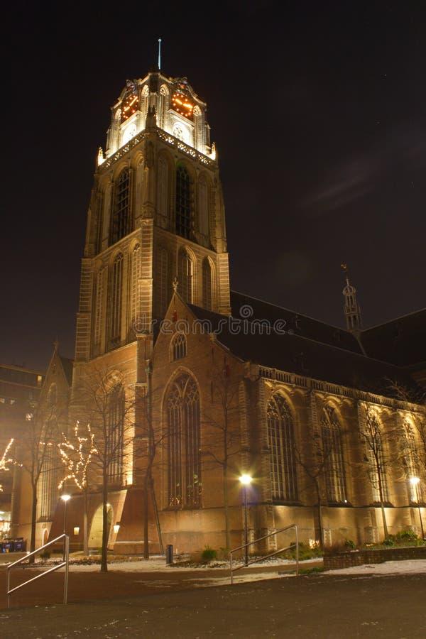 Nattstadssikt av Rotterdam, Netherland royaltyfri foto