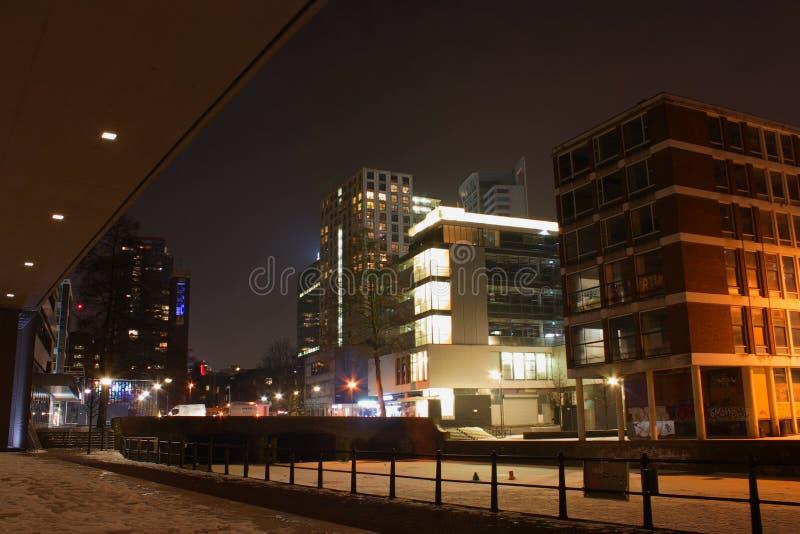 Nattstadssikt av Rotterdam, Netherland arkivbild