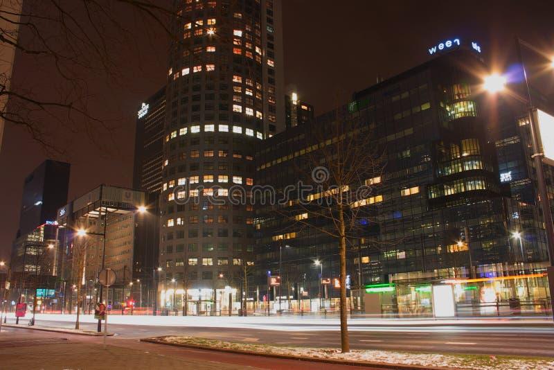 Nattstadssikt av Rotterdam, Netherland royaltyfria foton