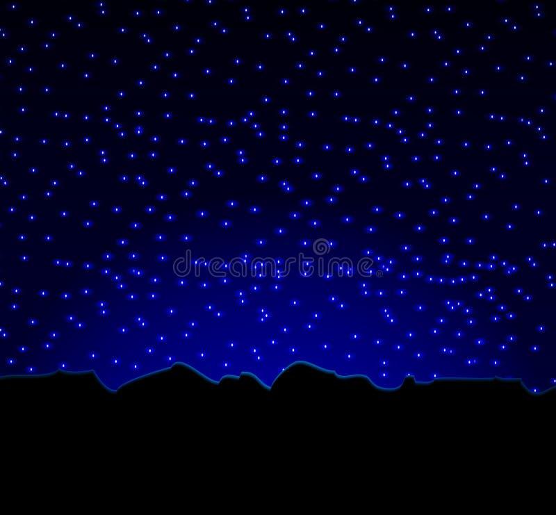 Nattstjärnahimmel och berg vektor illustrationer
