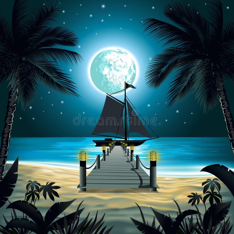 Nattstrand vektor illustrationer