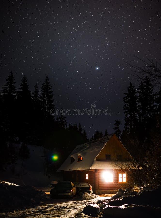 Nattstuga fotografering för bildbyråer