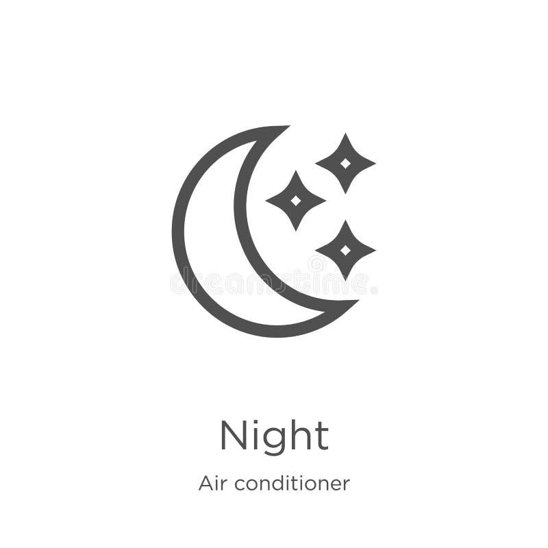 nattsymbolsvektor från luftkonditioneringsapparatsamling Tunn linje illustration f?r vektor f?r natt?versiktssymbol Översikt tunn royaltyfri illustrationer