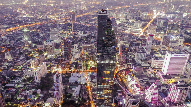 Natttur i den Bangkok staden arkivbilder