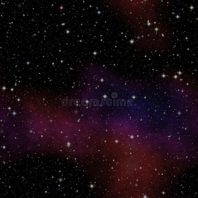 Nattuniversumhimmel med färgrika moln, sömlös natthimmel med många stjärnor vektor illustrationer