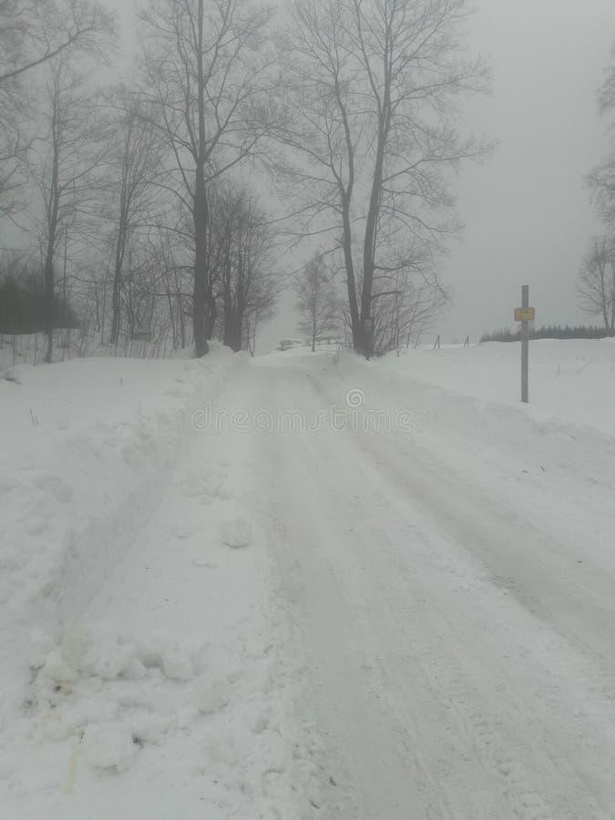 Nattvägen snöade bygd i djup vinter royaltyfri fotografi