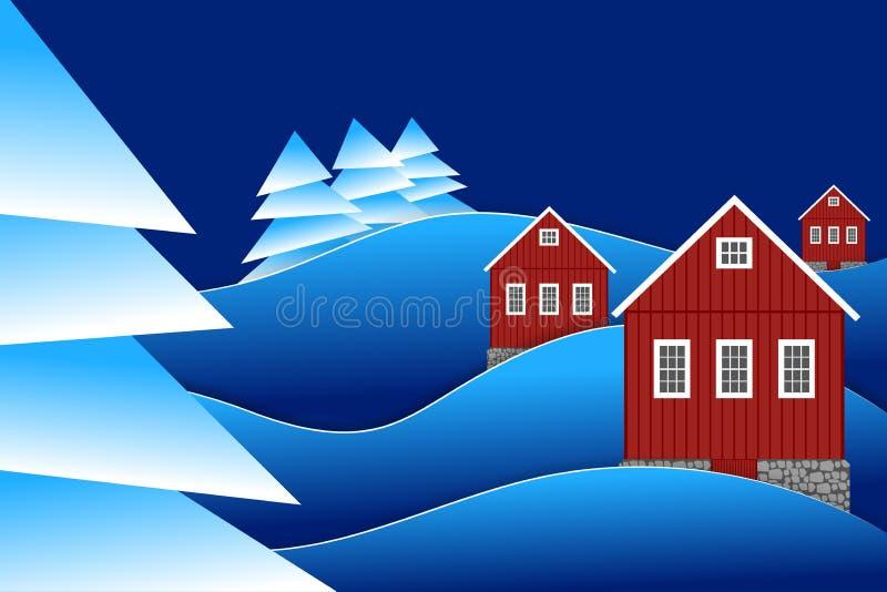 Nattvinterlandskap med den röda skogen för landshus och för granträd royaltyfri illustrationer