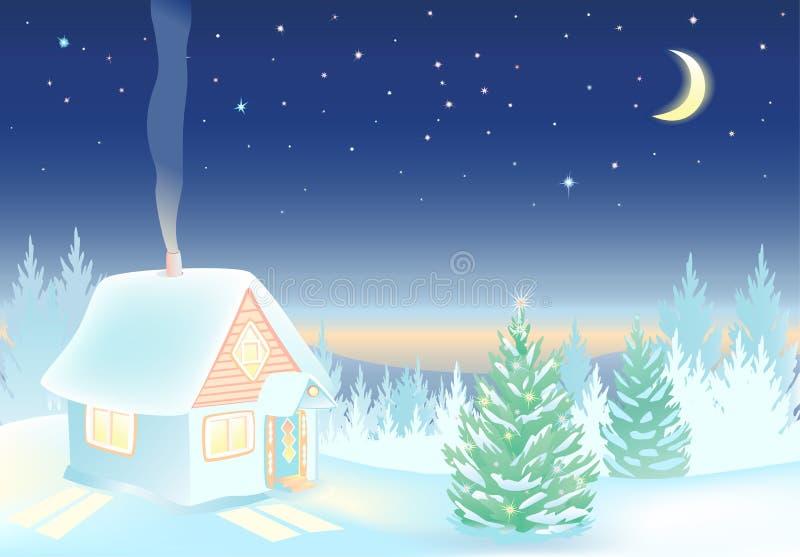 Nattvinterlandskap med huset och skogen vektor illustrationer