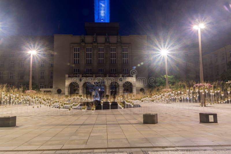 Nattvy över Prokes Square i Ostrava, Tjeckien royaltyfri bild