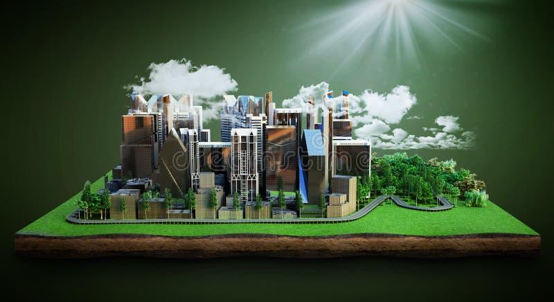 natu包围的一个现代城市的未来概念图象城市图片