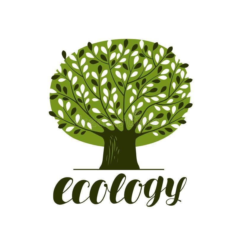 Natur, Ökologie, Waldlogo oder Aufkleber Abstrakter grüner Baum mit Blättern Dekorative vektorabbildung stock abbildung