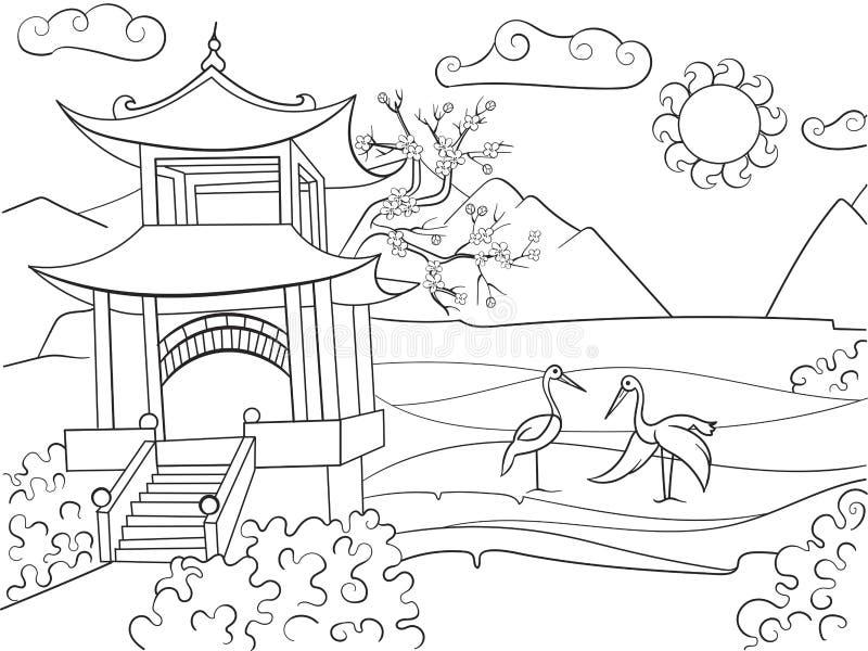 Natur av den Japan färgläggningboken för illustration för barntecknad filmvektor stock illustrationer