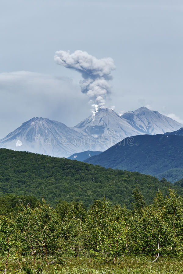 Natur av Kamchatka: aktiv Zhupanovsky för utbrott vulkan royaltyfri fotografi